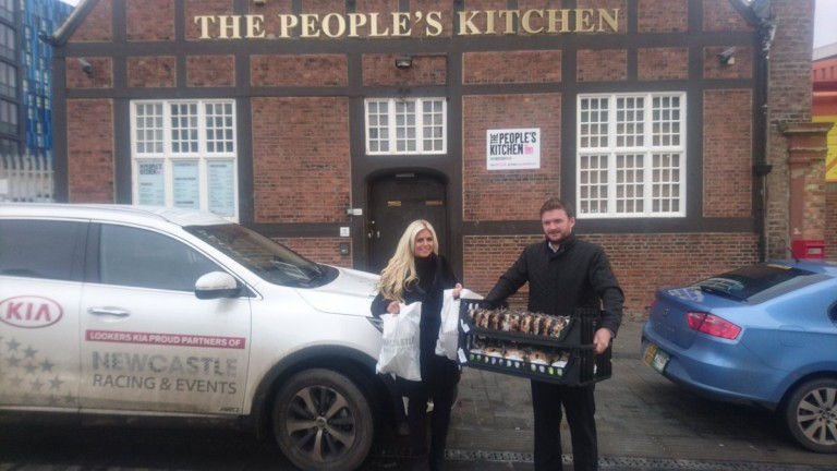 Special delivery: the team at Newcastle deliver the food to The People's Kitchen