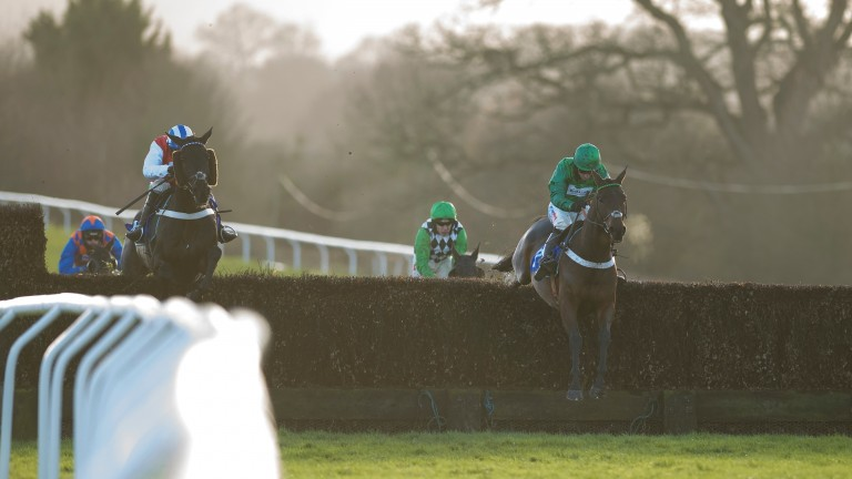 Seeing a stride: Top Notch (right) pings the second-last on his way to winning the Peterborough Chase