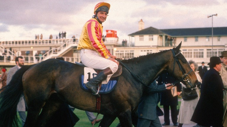 Richard Rowe is led in on his eccentric mount after winning the 1988 Grand Annual Chase