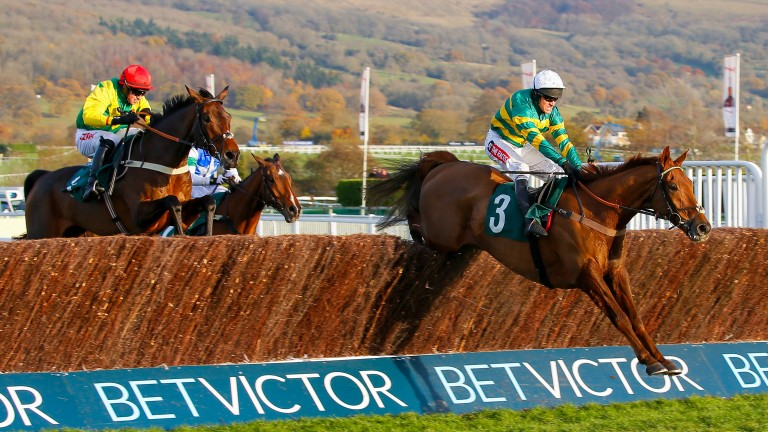 Movewiththetimes (right): on a highly attractive mark over fences