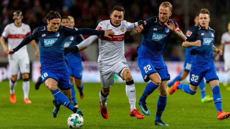 Nico Schulz and Kevin Vogt of Hoffenheim in action against Stuttgart