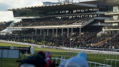 The runners in the 2m 1f handicap hurdle race down the hill towards the stands. The race was won by Smaoineamh AlainnCheltenham 15.12.17 Pic: Edward Whitaker