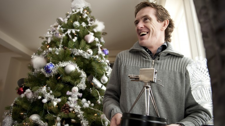 Sir Anthony McCoy at home with his BBC Sports Personality of the Year award
