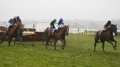 Reve De Sivola (left) before reeling in the leaders in the Challow Novices' Hurdle at Newbury