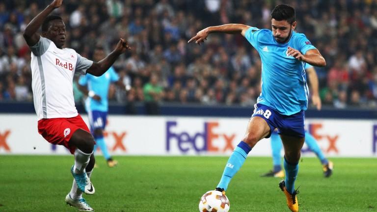 Morgan Sanson of Marseille (right) in Europa League action