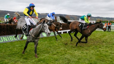(L to R) Guitar Pete - Ryan Day wins from Clan Des Obeaux - Harry CobdenThe (New) Caspian Caviar Gold Cup Handicap Chase (Grade 3)   Cheltenham 16/12/17©cranhamphoto.com