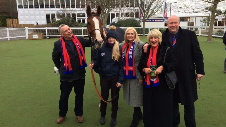 Sire De Grugy with some of his owners, including Steve Preston (left), after running his final race at Cheltenham