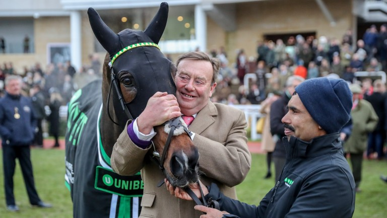 MY TENT OR YOURS with Nicky Henderson after winning at CHELTENHAM 16/12/17Photograph by Grossick Racing Photography 0771 046 1723
