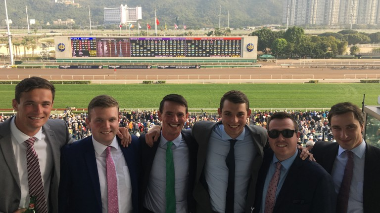 Our writer Luke Morgan (right) and (from left) Todd Pollard, Christopher Farrell, Tim Donworth, Jack Carlino and Joe Callan sample the delights of Hong Kong