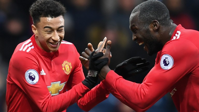 Man United's Jesse Lingard and Romelu Lukaku