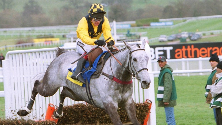 Richard Johnson on his way to victory on the Philip Hobbs-trained star Rooster Booster in the 2003 Champion Hurdle