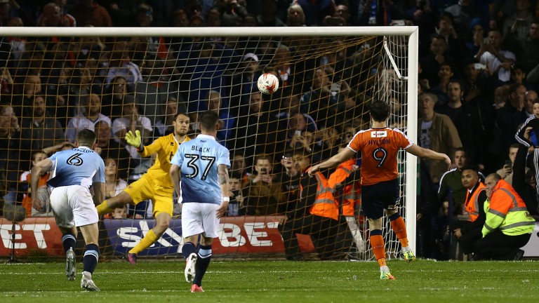 Luton's Danny Hylton converts a penalty in last season's playoff semi-final against Blackpool