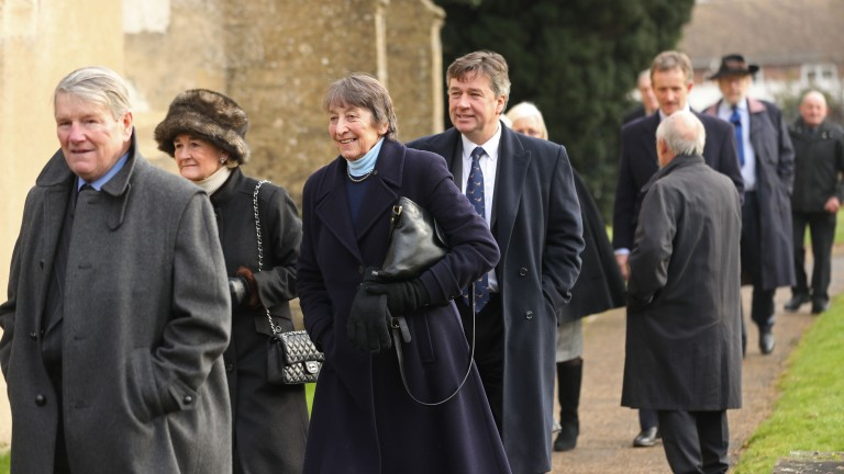Ian Balding, Henrietta Knight and Richard Phillips enter the church
