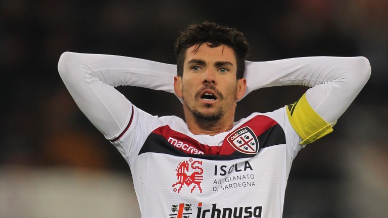 Diego Farias of Cagliari reacts