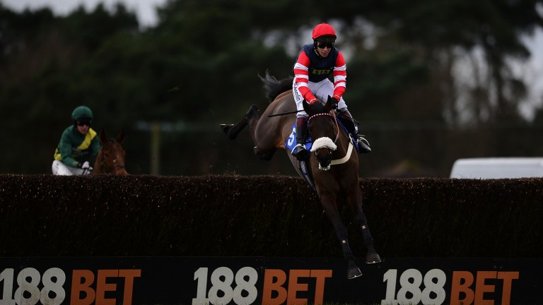 It's a Nipper: Richard Johnson gets a good leap from the Warren Greatrex-trained mare The Nipper on their way to what was a very fortunate victory in the mares' novice chase