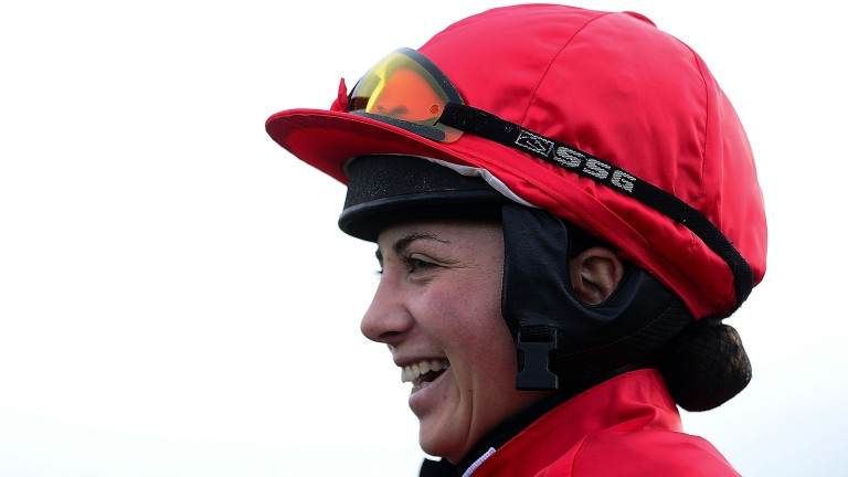 Just loving it: Bryony Frost is beaming before her ride on Triple Chief in the 2m3f handicap chase. Her mount ran well to finish second to Siruh Du Lac