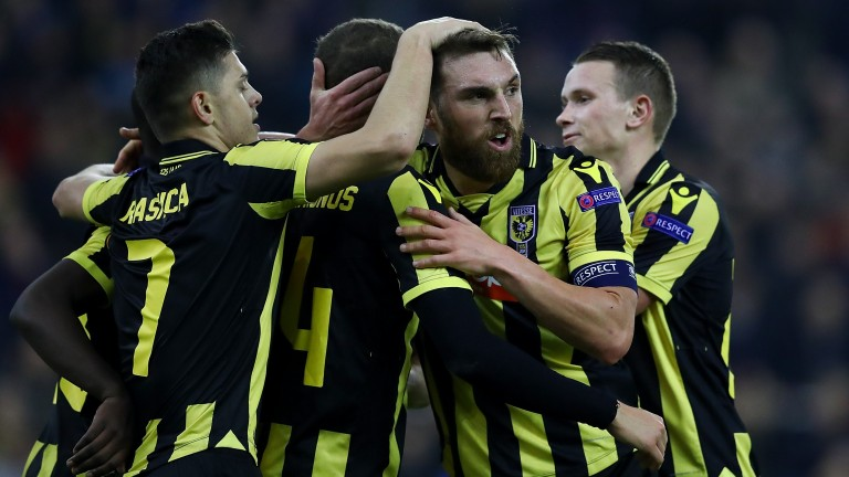Vitesse Arnhem celebrate a goal against Nice in the Europa League