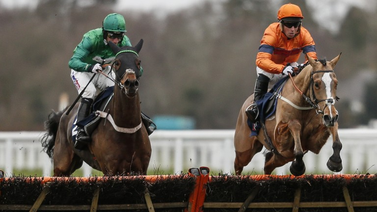Sam Spinner (right) comes up out of Joe Colliver's hands at the final flight before going on to beat L'Ami Serge (left) comfortably in the Grade 1 Long Walk Hurdle