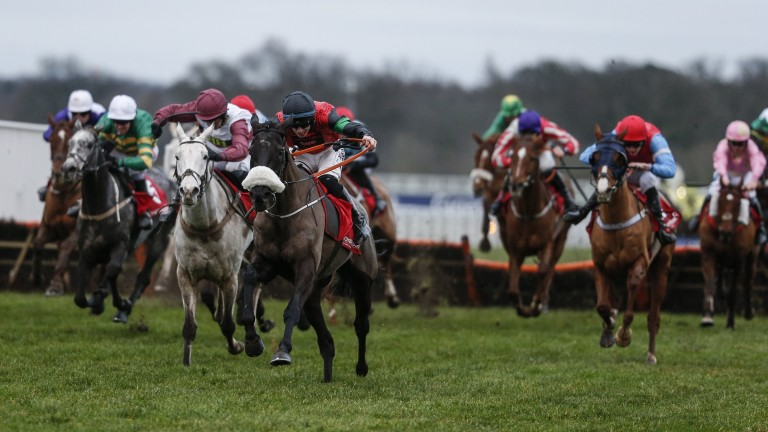 Hunters Call (noseband) and Jack Kennedy have their rivals chasing in vain