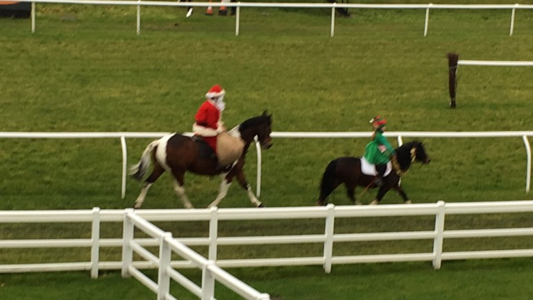Santa Claus (Andy Irvine, but don't tell the kids) and helper parade before racing