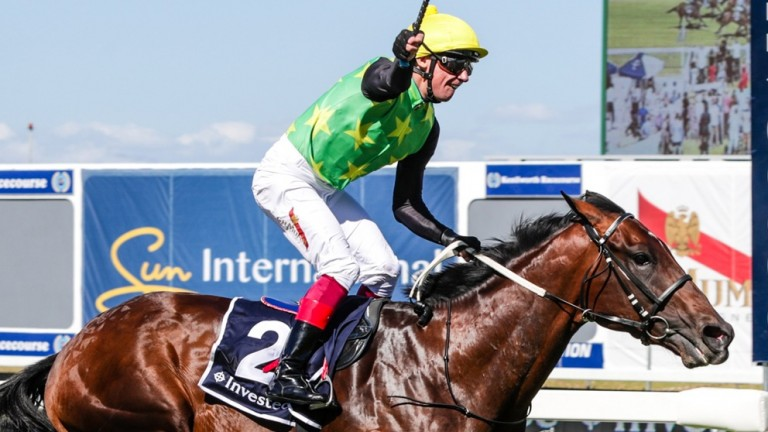 Edict Of Nantes wins this year's Investec Cape Derby under Frankie Derby at Kenilworth