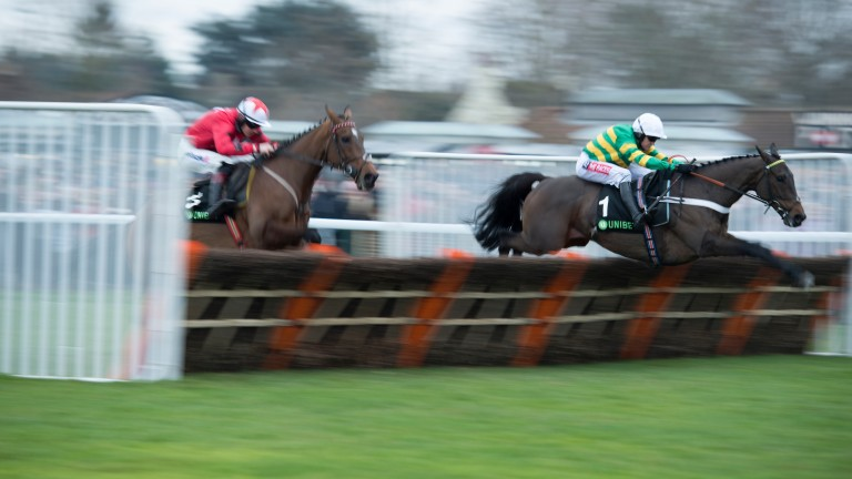 Buveur D'Air (Barry Geraghty) jumps the final flight and beats The New One in the Christmas HurdleKempton 26.12.17 Pic: Edward Whitaker