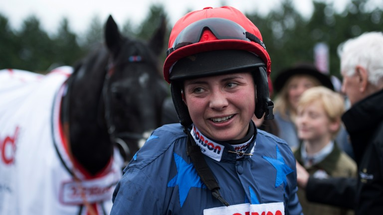 I've done it: emotion is written all over Bryony Frost's face following her success on Black Corton in the Kauto Star; just the second female jump jockey to record a Grade 1 victory