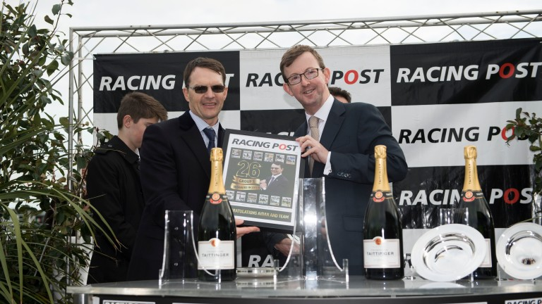 Aidan O'Brien (left) with Racing Post CEO Alan Byrne after Saxon Warrior's record-breaking success