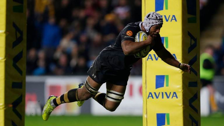 Nizaam Carr crosses over in Wasps' 49-24 Premiership win over Gloucester last Saturday