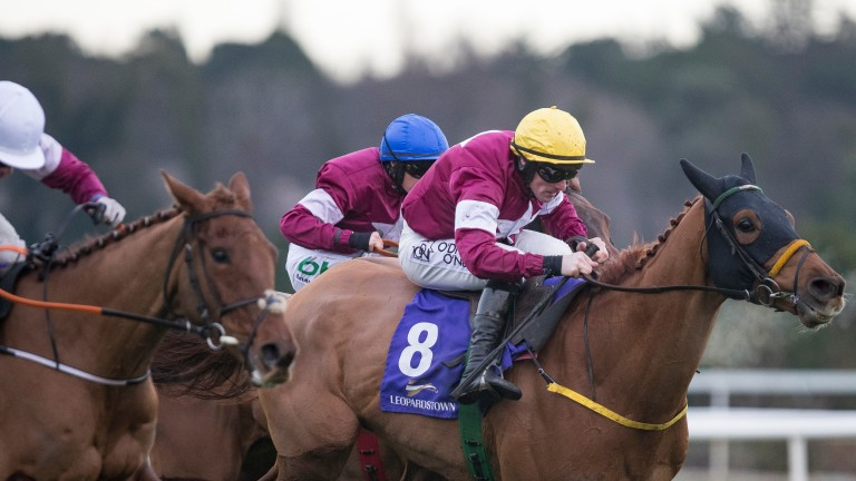 Road To Respect (right) wins the Christmas Chase from Outlander (blue cap) and Balko Des Flos