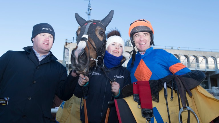 Gordon Elliott and Davy Russell are all smiles with Mick Jazz after their success