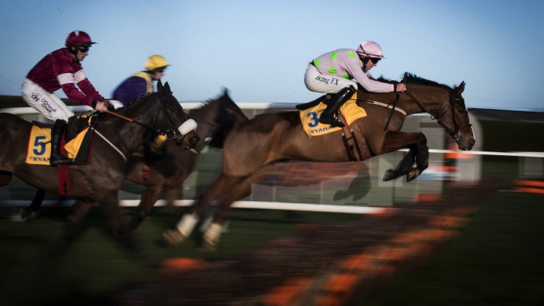 Faugheen (middle) clears a hurdle in the Grade 1 2m Ryanair Hurdle, although is eventually pulled up by Paul Townend before entering the home straight on the final circuit