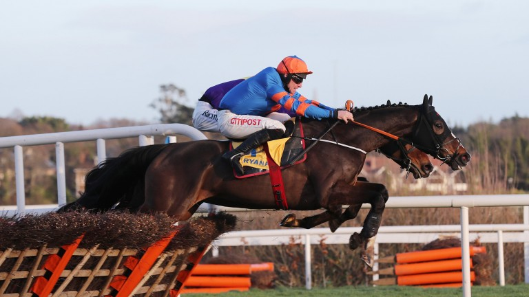 Mick Jazz and Davy Russell jump the last on the way to victory