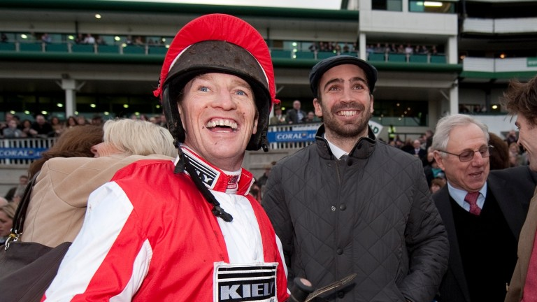 All smiles from jockey Paul Carberry and part-owner Nicky Robinson after Monbeg Dude's Welsh National win