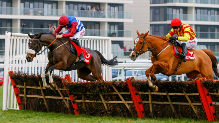 Poetic Rhythm (right) and Mulcahys Hill jump the last together in the Challow Hurdle