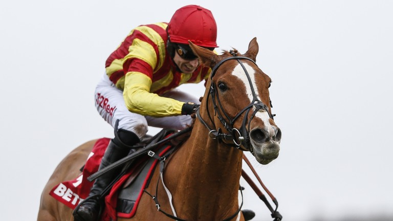"""Poetic Rhythm on the way to victory under Paddy Brennan, who said: """" I've ridden some tough horses, but I don't think I've ridden tougher"""""""