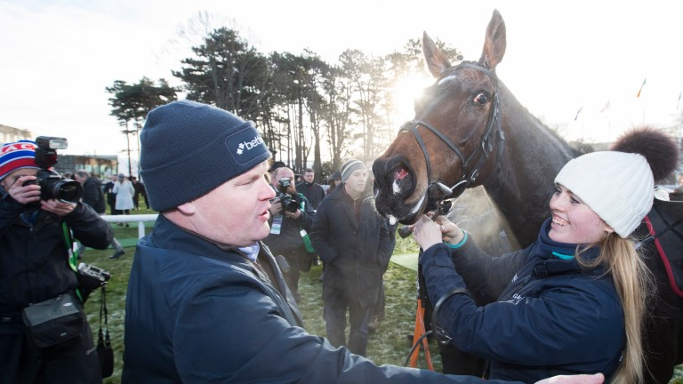 Georgie Benson: is congratulated after Apple's Jade won at Leopardstown