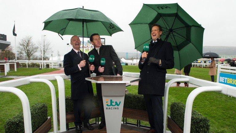 It's all a bit of fun: the start of a new era for the ITV Racing team on their first live broadcast on New Year's Day at Cheltenham where the filthy weather fails to dampen the spirits of presenter Ed Chamberlin, Sir Anthony McCoy and Luke Harvey (left)