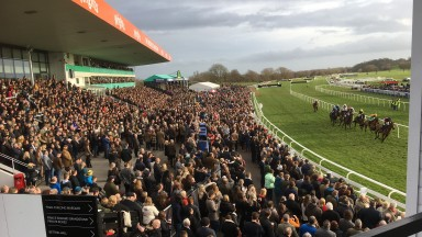 The huge crowd watch the runners in the 3m chase at Uttoxeter