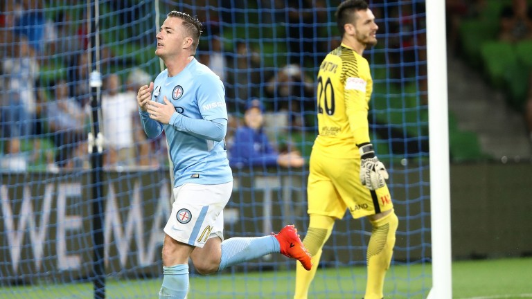 Ross McCormack celebrates a goal for Melbourne City against Western Sydney in November