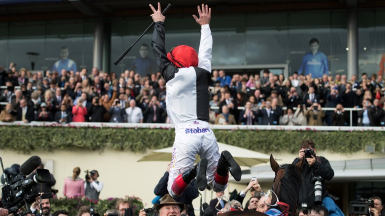 Flying high: well might Frankie Dettori celebrate in style with a big flying dismount off Cracksman in the Ascot winner's enclosure, completing a big-race double for the great man on Champions Day at Ascot