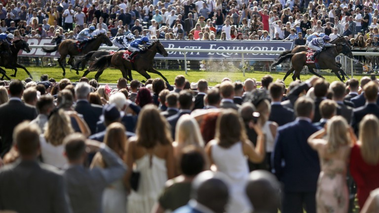 Close call: Nakeeta (near side) gets the better of Flymetothestars in a thrilling finish to the Ebor at York