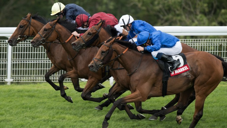 Head-bobber: Endless Time (near side) swoops late to win the Lillie Langtry on day three of Glorious Goodwood