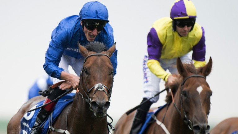 Adam's Angel: Adam Kirby roars with delight after landing the July Cup on Harry Angel at Newmarket