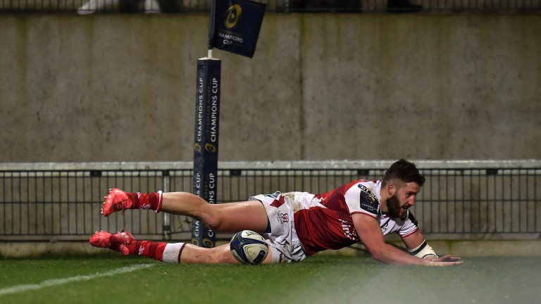 Stuart McCloskey scores for Ulster against Harlequins in the Champions Cup