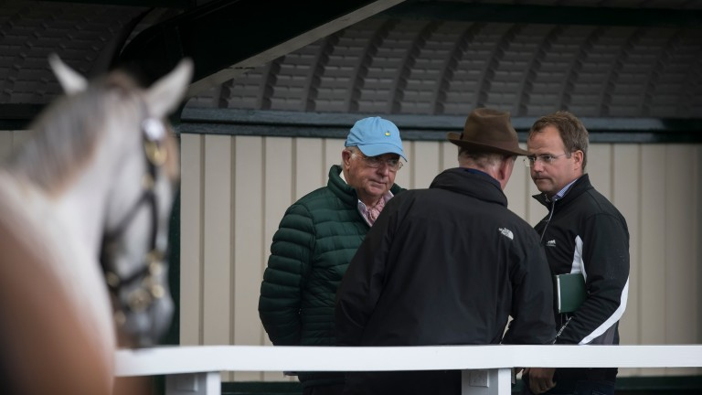 The Cooolmore team of John Magnier (left), son MV (right) and Paul Shanahan (centre) at Goffs