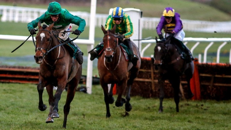 Wholestone (Daryl Jacob) heads up the run-in clear of third-placed Colin's Sister and runner-up Agrapart (right)