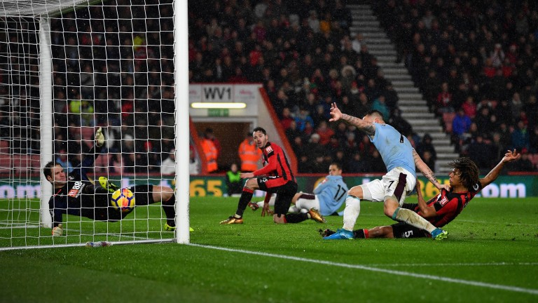 Marko Arnautovic scores West Ham's third goal in their draw at Bournemouth