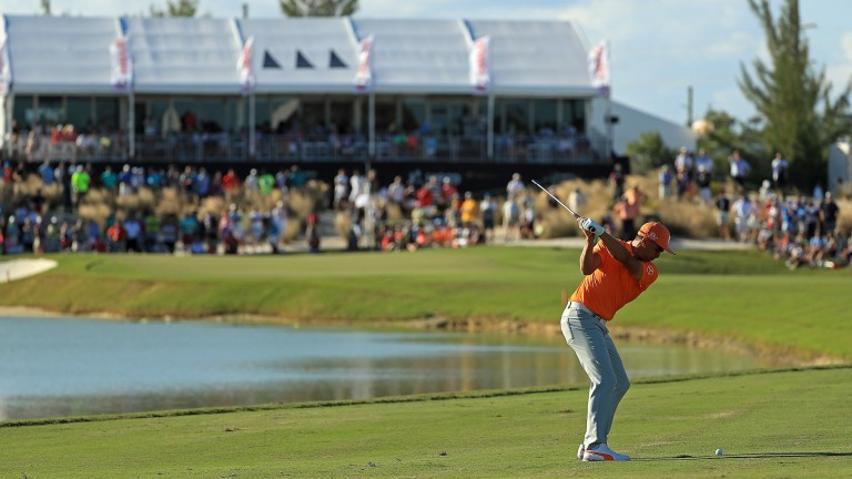 Rickie Fowler in action at the Hero World Challenge last December