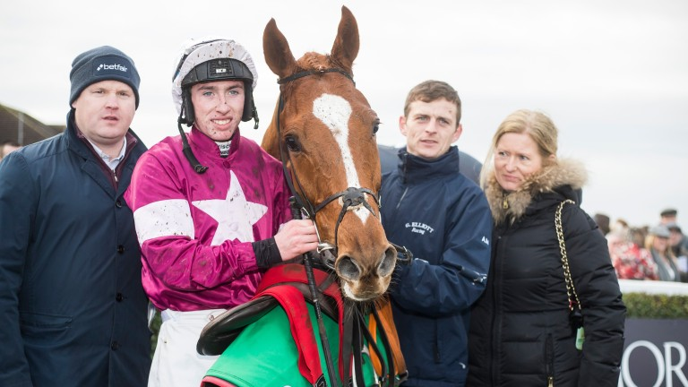 Samcro with Gordon Elliott (left) and jockey Jack Kennedy after winning the Monksfield Novice Hurdle at Navan